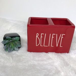 Rae Dunn Christmas red believe holder LL